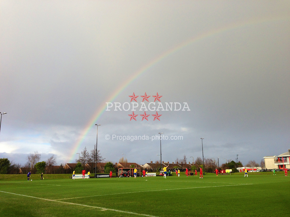 KIRKBY, ENGLAND - Monday, January 14, 2013: A general view with a rainbow of the Kirkby Academy as Liverpool take on Southampton during the Under 21 FA Premier League match. (Pic by David Rawcliffe/Propaganda)