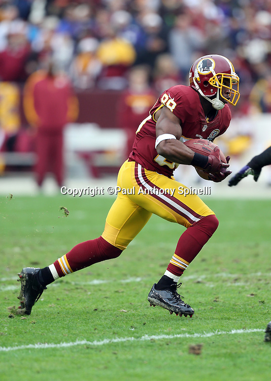 Washington Redskins wide receiver Pierre Garcon (88) catches a first quarter pass for a gain of 23 yards to the one yard line during the NFL week 14 football game against the Baltimore Ravens on Sunday, Dec. 9, 2012 in Landover, Md. The Redskins won the game in overtime 31-28. ©Paul Anthony Spinelli