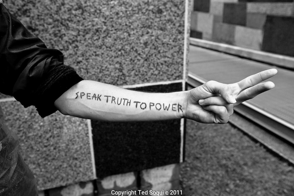 Portraits of people at Occupy LA in downtown Los Angeles..Paul Murufas, dishwasher, from Long Beach, CA.