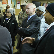 Wilmington Delaware Mayor Dennis Williams (RIGHT) response to questions during a candid conversation with Delaware Gov. Jack Markell and Mayor Dennis Williams also members of the east side community Monday, Jan. 05, 2015 in Wilmington, DE.