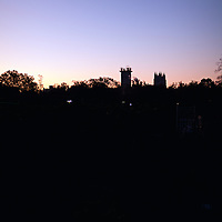 Silhouette of the two towers of the National Cathedral in Washington, DC at dawn. Scaffolding on one of the towers is for repairs following the earthquake of August 23, 2011.