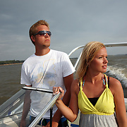 Anna Janssen and her boyfriend Austin Ewell enjoy a boat ride on Red Rock Lake near Pella, Iowa on Labor Day, 2010.