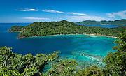 Horsehoe Bay from trail viewpoint, Matangi Private Island Resort, Fiji.