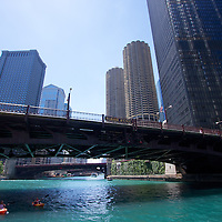 Getting some strokes in on the Chicago river through downtown