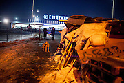 """View from the barricades to the blocked building supplies store named """"Epicenter"""" in the city of Lviv, Ukraine."""