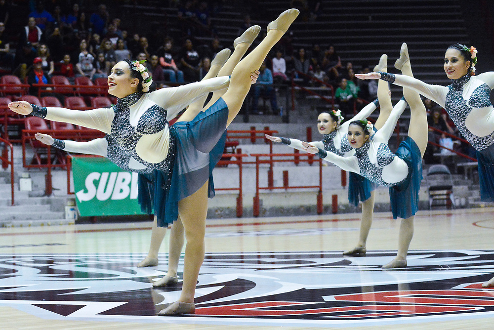 mkb032517/metro/Marla Brose --  Valley High's dance team, including Mariana Medina, front left, perform their class 6A first place routine during the State Spirit Championships at The Pit in Albuquerque, N.M., Saturday, March 25, 2017. (Marla Brose/Albuquerque Journal)