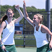 Tower Hill Georgia Kollias and Sarah Lunger celebrates winning a set during a DIAA Tennis State final match Tuesday, May. 26, 2015 at UD Field House in Newark, DEL