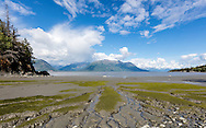 Tidal mudflats of Turnagain Arm looking toward the Chugach Mountains from Hope in Southcentral Alaska. Summer. Afternoon.