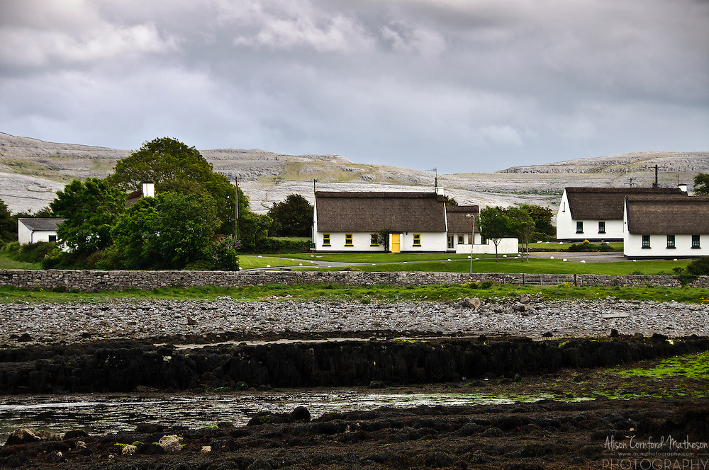 Thatched roof cottages in County Galway, Ireland.
