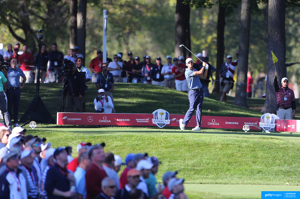 Ryder Cup 2016. Day One. Rafa Cabrera Bello of Europe in action during the Friday afternoon four-ball competition during the Ryder Cup at  Hazeltine National Golf Club on September 30, 2016 in Chaska, Minnesota.  (Photo by Tim Clayton/Corbis via Getty Images)