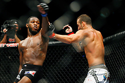 August 9, 2008; Minneapolis, MN, USA;  Jones (black trunks) and Andres Gusmao (white trunks) battle during their bout at the Target Center in Minneapolis, MN at UFC 87: Seek and Destroy.  Jones won via 3 round unanimous decision.