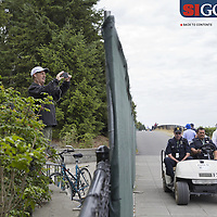 """Neighbors who live across the street from Chambers Bay, home of the 2015 US Open, found ways to view the action without paying for tickets. Photographed for Sports Illustrated's US Open photo essay """"Behind The Open Curtain: Plotting the Course."""" 7 of 8"""