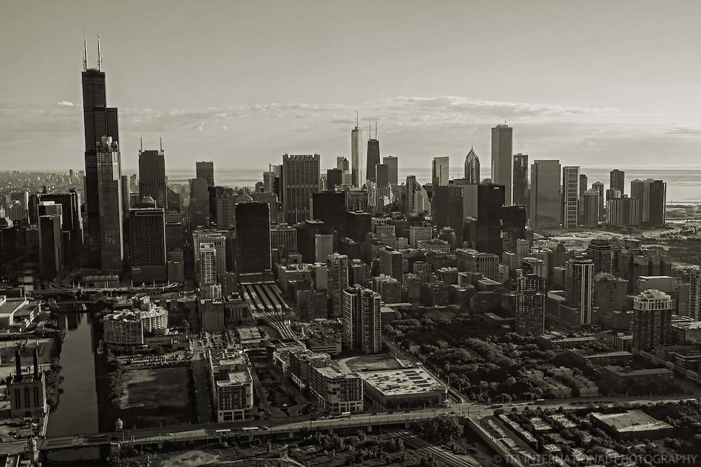 Chicago Skyline above Roosevelt Road