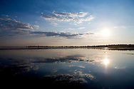 Calm waters on Lake Mendota in Madison, Wisconsin. .