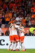 AMSTERDAM - Nederland - USA , Amsterdam ArenA , Voetbal , oefeninterland , 05-06-2015 , Spelers van het nederlands elftal vieren de 2-1