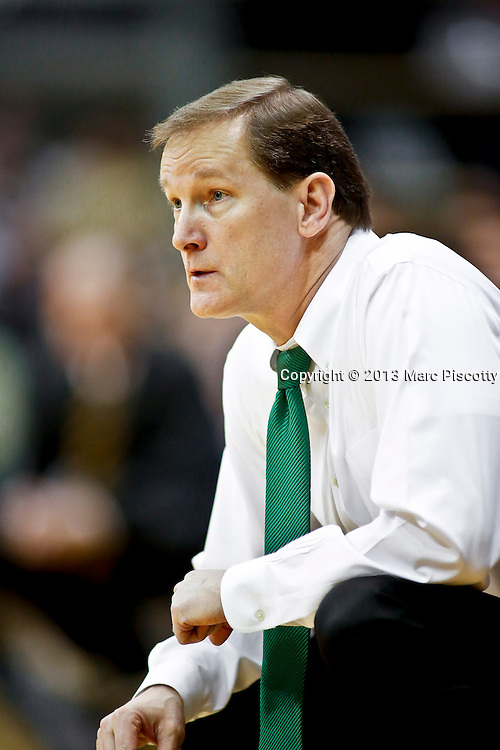SHOT 3/7/13 8:37:18 PM - Oregon head basketball coach Dana Altman watches his team play against Colorado during their Pac-12 Conference regular season basketball game at the Coors Events Center on the University of Colorado campus in Boulder, Co. Colorado won the game 76-53..(Photo by Marc Piscotty / © 2013)