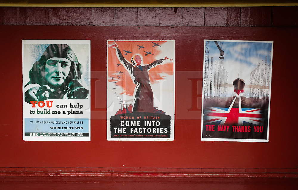&copy; Licensed to London News Pictures. <br /> 16/10/2016. <br /> Goathland, UK.  <br /> <br /> 1940's period posters are displayed at Goathland station during the final day of the North Yorkshire Moors Railway Wartime Weekend event.  <br /> The annual event brings together re-enactors and enthusiasts along the length of the NYMR heritage steam railway line to recreate the feel of the war years of the 1940's. <br /> <br /> Photo credit: Ian Forsyth/LNP