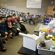 Advanced placement students from the Josiah Quincy Upper School (JQUS) in Boston's Chinatown visit Tufts Chemistry Department's Pearson Lab for a field trip. (Zara Tzanev for Tufts University)