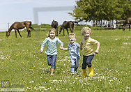 Drei Kinder springen ueber Pferdekoppel (model-released)