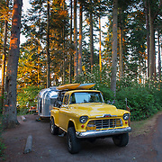 """Nice way to camp! A classic restored 1956 Chevy pickup pulls a 1956 Airstream """"Bubble"""" that has been restored. It's one of only 300 made. At Salt Creek campground on the Olympic Peninsula W of Port Angeles."""
