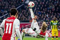AMSTERDAM - Ajax - ADO , Voetbal , Eredivisie , Seizoen 2016/2017 , Amsterdam ArenA , 29-01-2017 ,  Omhaal van Ajax speler Kasper Dolberg (r)