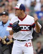 CHICAGO - AUGUST 28:  Dan Jennings #43 of the Chicago White Sox reacts against the Seattle Mariners on August  28, 2016 at U.S. Cellular Field in Chicago, Illinois.  The White Sox defeated the Mariners 4-1.  (Photo by Ron Vesely/MLB Photos via Getty Images)  *** Local Caption *** Dan Jennings