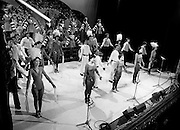 Performers in the John Player &lsquo;Tops of the Town&rsquo; final, at the Gaiety Theatre, Dublin. The Irish Distillers Variety Group ultimately emerged as the winner, beating Waterford Banks and Finance by two marks.<br />1 June 1980