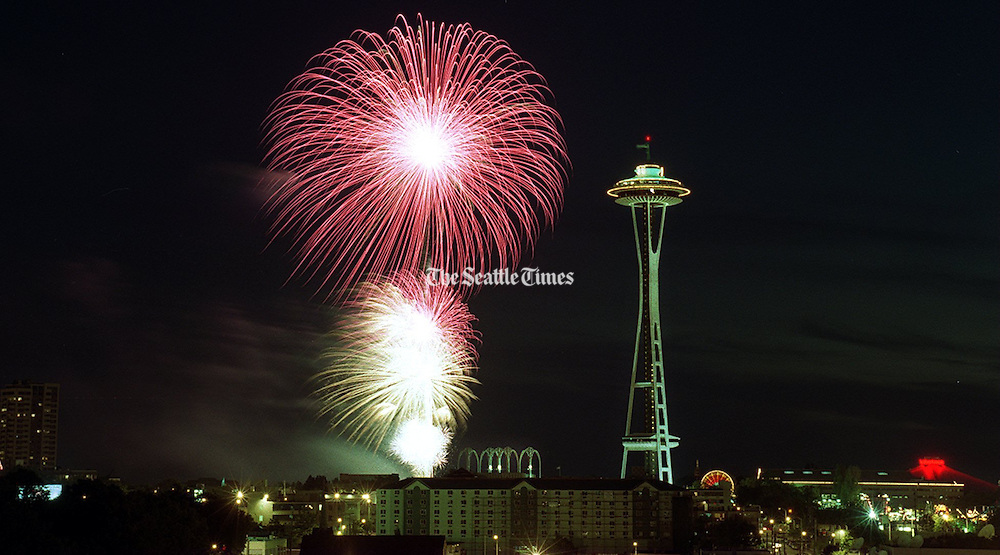 The Ivar's Fourth of July fireworks behind the Space Needle on July 4, 1997.<br />