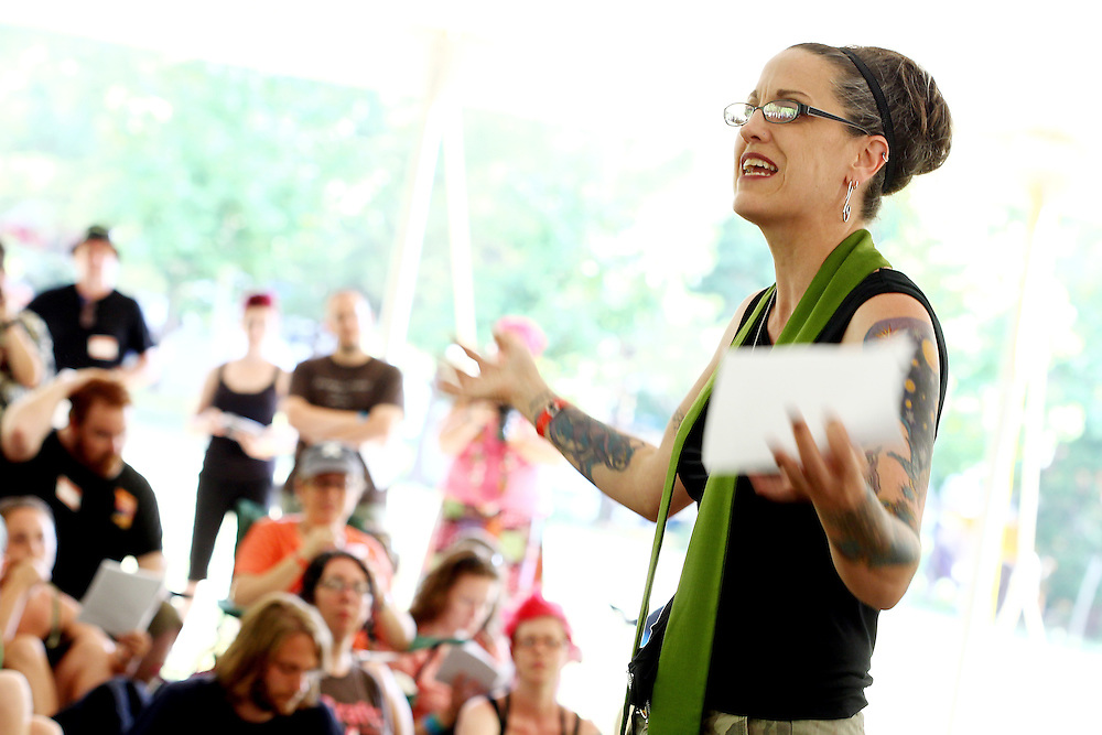 Nadia Bolz-Weber, founding pastor of House for All Sinners and Saints in Denver, leads the Bluegrass Liturgy at the Wild Goose Festival at Shakori Hills in North Carolina June 25, 2011.  (Photo by Courtney Perry)