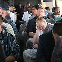 The bus is quiet en route to the game against the Sooners in Oklahoma.