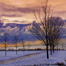 Snow covered beach on Christmas morning, Lake Ontario, Ajax, Canada