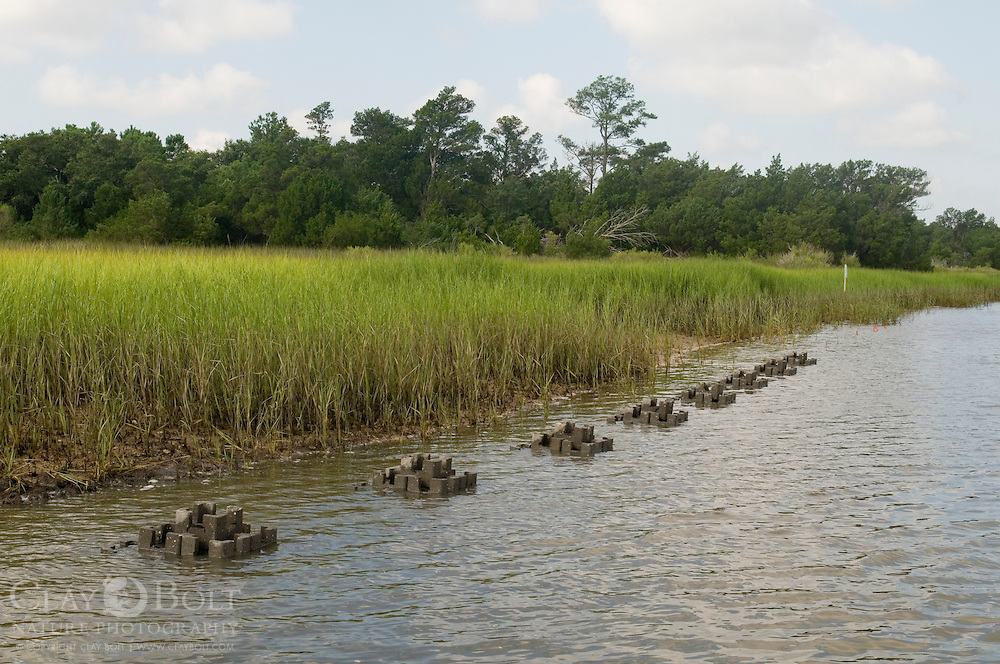 Oyster Castles partially submerged in rising tide, Mclellanville, South Carolina