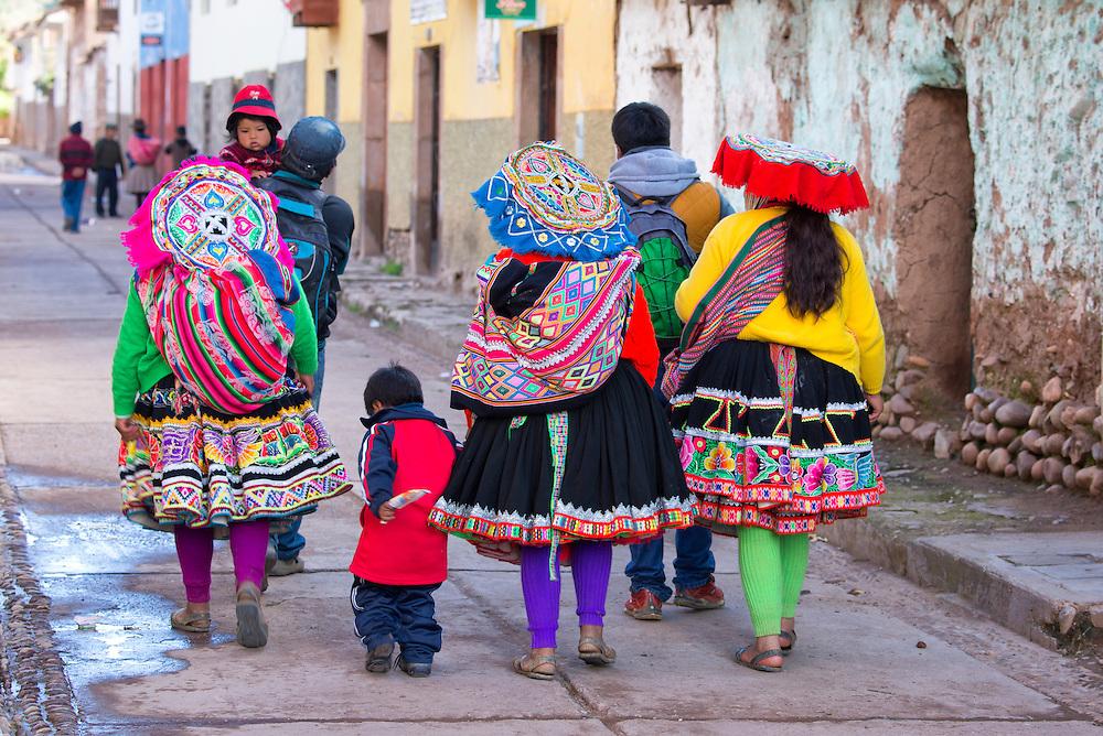 South America, Peru,Cuzco, Native village, group of village people