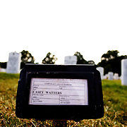 A fresh gravesite of a fallen soldier from Operation Enduring Freedom in Afghanistan is pictured on Saturday, July 25, 2009 at Arlington National Cemetery in Arlington, VA.  Several recent burials are awaiting headstones.