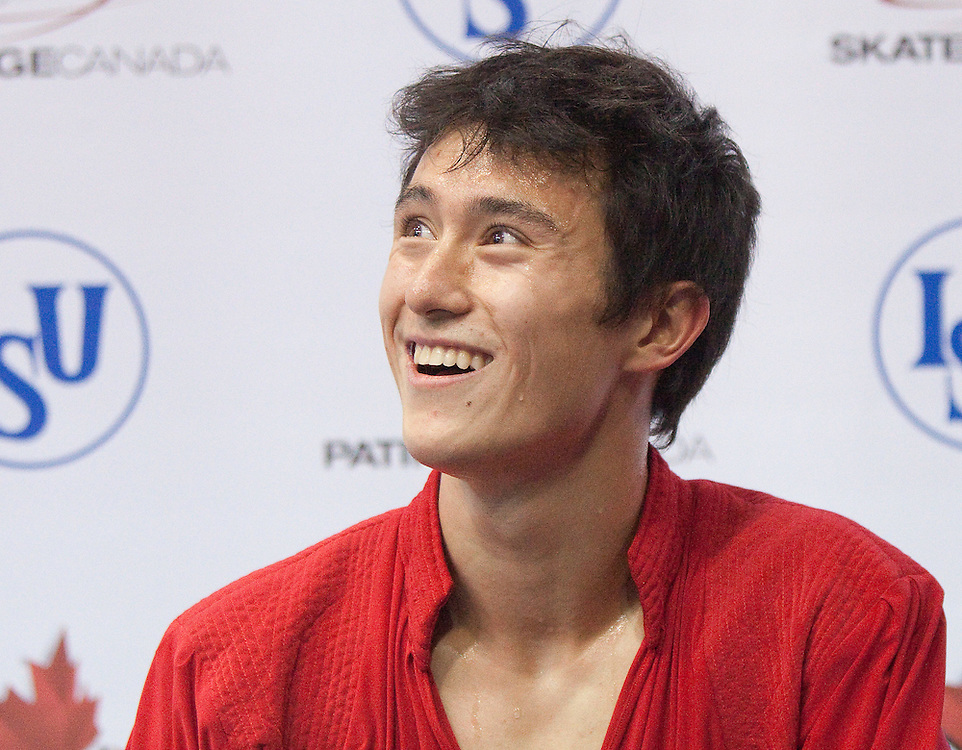 GJR422 -20111029- Mississauga, Ontario,Canada-  Patrick Chan of Canada smiles as he waits for his marks following his free skate at Skate Canada International, in Mississauga, Ontario, October 29, 2011.<br /> AFP PHOTO/Geoff Robins
