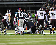 Ole Miss recovers a fumble vs. Texas A&M in Oxford, Miss. on Saturday, October 6, 2012. Texas A&M won 30-27...