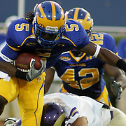 Delaware punt returner (#5) Rob Jones is tackled the first quarter by West chester (#9) John O'Donnell. West Chester trails 0-7. No. 16 Hens would go on to a 31-0 victory in the season opener at Delaware Stadium.....