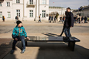 """One of fifteen interactive """"Chopin benches"""" placed along a walking route through Warsaw at important sites in Chopin's Warsaw history. At Kazimierzowski Palace, which is now Warsaw University."""
