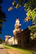 Europe, Italy, Lombardy, Milan, Night, beautiful, color, Sforzesco castle, Filarete