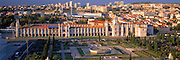 PORTUGAL, LISBON Mosteiro (Monastery) dos Jeronimos, 15thc masterpiece in 'Manueline' style architecture, with stadium and skyline