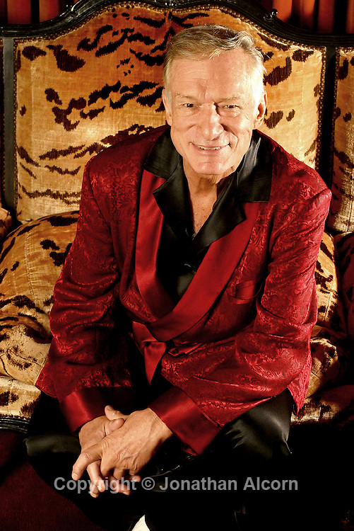 Aug 13, 2003; Los Angeles, CA, USA; Playboy's Hugh Hefner photographed in the living room at the Playboy Mansion.