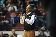 "LSU head coach Trent Johnson at the C.M. ""Tad"" Smith Coliseum in Oxford, Miss. on Saturday, February 25, 2012."