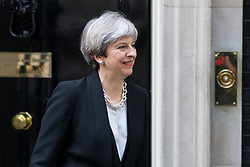 © Licensed to London News Pictures. 19/04/2017. London, UK. British Prime Minister Theresa May leaves 10 Downing Street. Yesterday, Theresa May called a snap General Election, to take place on 8 June 2017. Photo credit : Tom Nicholson/LNP