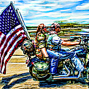 Bikers come to Washington DC on the Memorial Bride