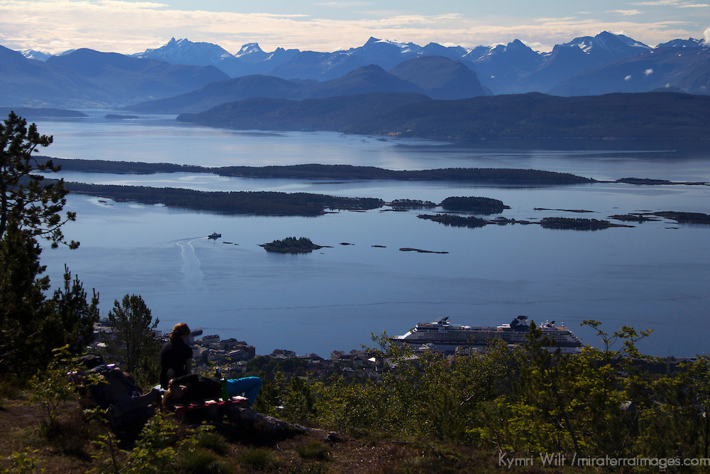 Europe, Norway, Molde. The Molde Panorama view from Varden overlook.
