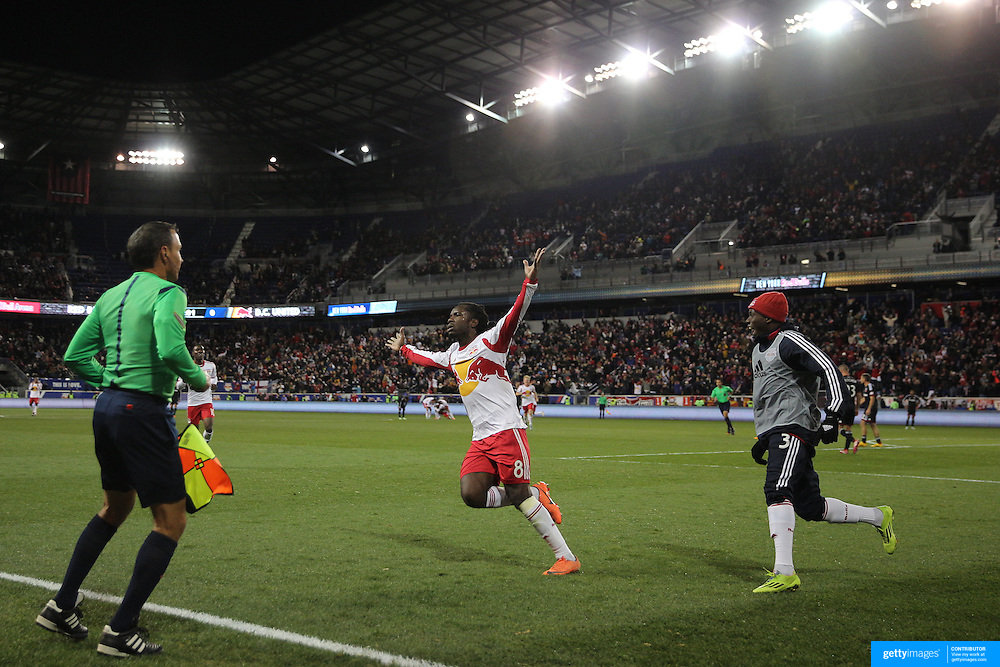 Pegguy Luyindula, New York Red Bulls, celebrates after scoring his sides second goal during the New York Red Bulls V DC United, MLS Cup Playoffs, Eastern Conference Semifinals first leg at Red Bull Arena, Harrison, New Jersey. USA. 2nd November 2014. Photo Tim Clayton