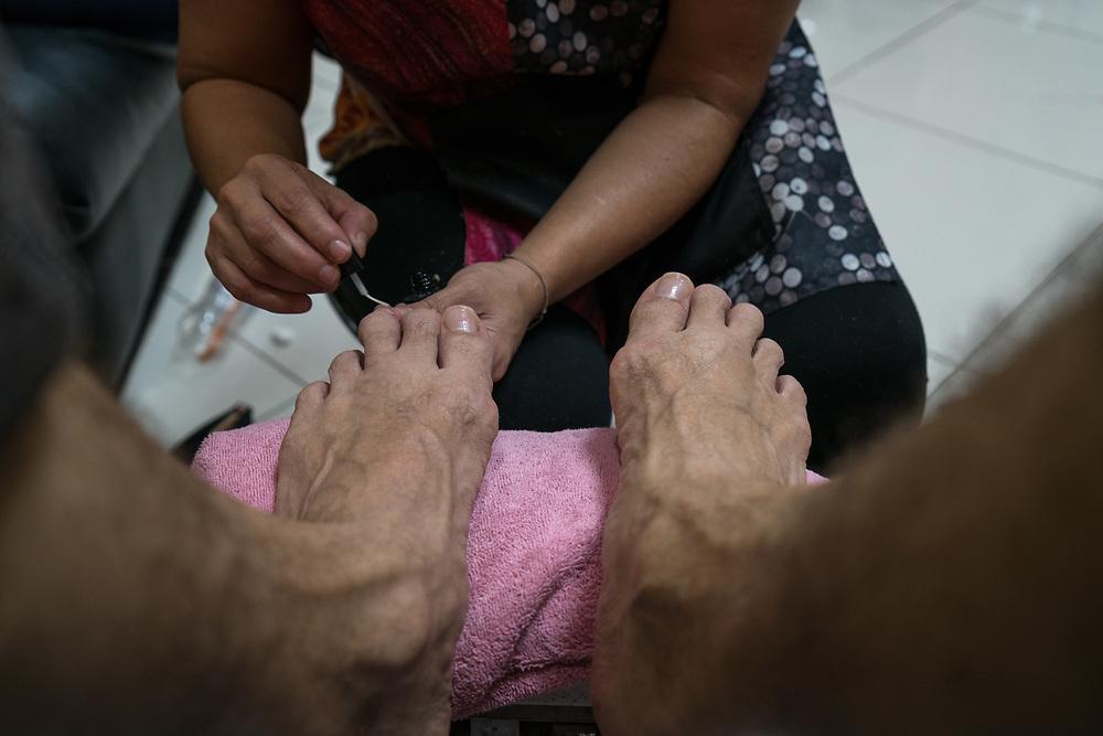 My pedicure by Julias at Nelies in Santa Rosa de Copan, Copan, Honduras on Feb. 8, 2017. Photo Ken Cedeno