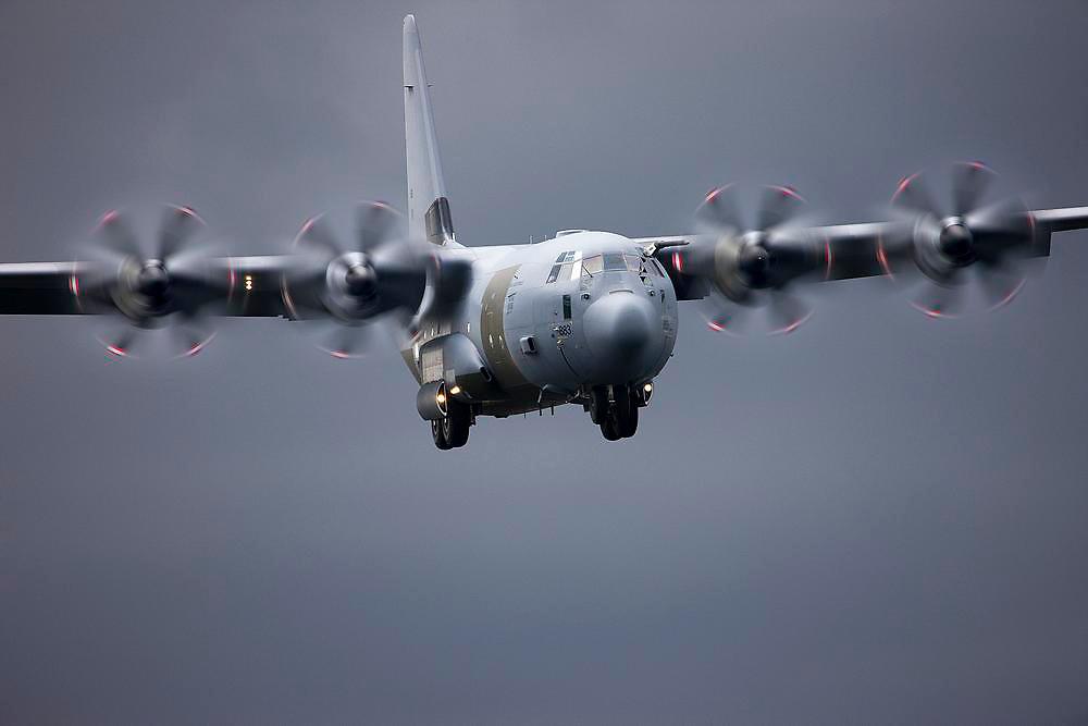 RAF C130J Hercules on approach.