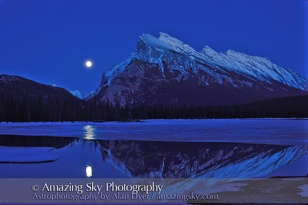 Full Moon rising at fall equinox, over Vermilion Lakes, and beside Mt. Rundle, Banff National Park, September 1995.<br /> <br /> 50mm lens