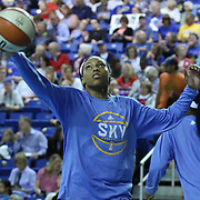 Chicago Sky Forward Betnijah Laney (44) drives to the basket during warm ups prior to a WNBA preseason basketball game between the Chicago Sky and the New York Liberty Friday, May. 22, 2015 at The Bob Carpenter Sports Convocation Center in Newark, DEL